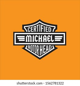Name Art Motorcycle Theme Graphic Emblem Illustration personalized for Michael