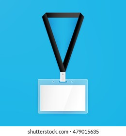 Name Badge Empty Mockup. Vector Illustration of Identity Card Template.