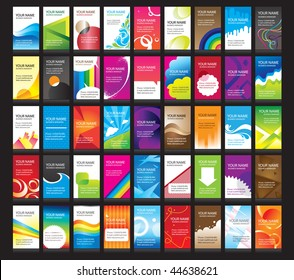 Name cards set. Visit cards. Vector colorful name cards.