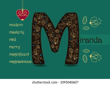Name Day Card for Miranda. Artistic brown letter M with golden floral decor. Vintage red heart with chain. Words begining with the letter M - magnanimous, magnificent, mild, masterly, merry, modern