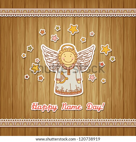 Name day greeting card angel stock vector royalty free 120738919 name day greeting card with angel m4hsunfo