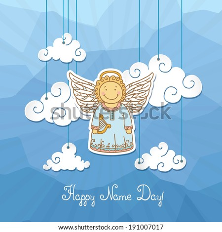 Name day greeting card angel stock vector royalty free 191007017 name day greeting card with angel m4hsunfo