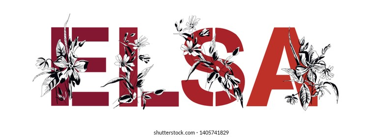 Name Elsa. Font composition named ELSA. Decorative floral font. Typography in the style of art nouveau, modern, vintage.