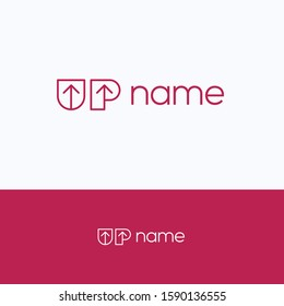 UP name font logo. Flat arrow lift logo template. Letter logotype with word UP