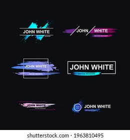 Name Lower Thirds Set Brush Modern Colorful templates. Vector illustration