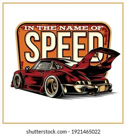 in the name of speed vintage illustration