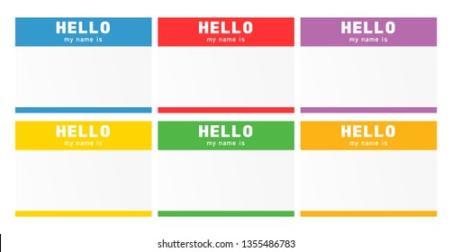 Name tag set. Nametag introduction label. Blind and speed dating sticker.