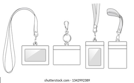 name tags, bus card holders, ID badge cases with front window/ plastic membrane shield and 2 slot in at the back. neck strap or Keychain Key Ring, detachable wrist strap, vector illustration sketch