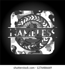 Nameless on grey camo texture