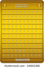 names of Allah (Asmaul Husna) scalable vector in golden background
