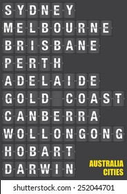 Names of Australian cities on old fashion split-flap display like travel destinations in airport flight information display system and railway stations timetable. Vector illustration.
