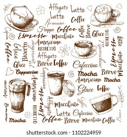 The names of different types of coffee. Different coffee cocktails. Vector illustration of a sketch style.