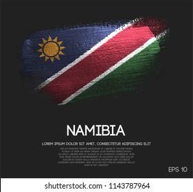 Namibia Flag Made of Glitter Sparkle Brush Paint Vector