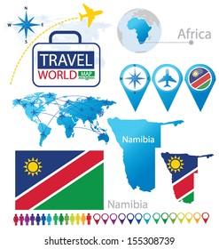 Namibia. flag. map. Travel vector Illustration.