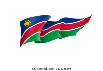 Namibia flag state symbol isolated on background national banner. Greeting card National Independence Day of the Republic of Namibia. Illustration banner with realistic state flag.