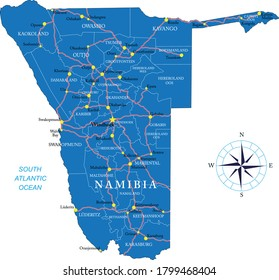 Namibia highly detailed political map