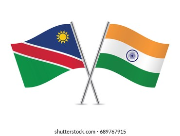 Namibia and India flags.Vector illustration.