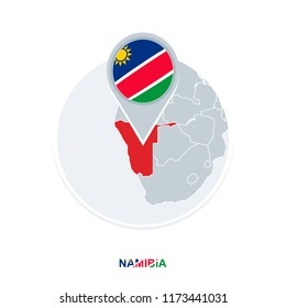Namibia map and flag, vector map icon with highlighted Namibia