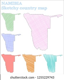 Namibia sketchy country. Superb hand drawn country. Surprising childish style Namibia vector illustration.