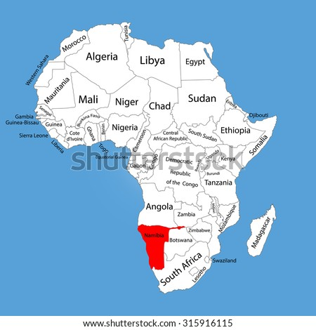 Namibia Vector Map Silhouette Isolated On Stock Vector (Royalty Free ...