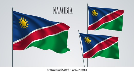 Namibia waving flag set of vector illustration. Green red colors of Namibia wavy realistic flag as a patriotic symbol