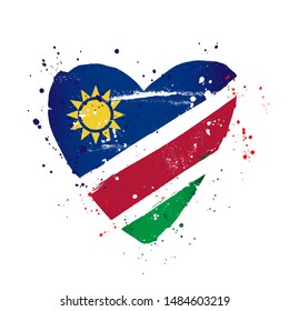 Namibian flag in the form of a big heart. Vector illustration on a white background. Brush strokes are drawn by hand. Namibian Independence Day.