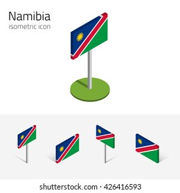 Namibian flag (Republic of Namibia), vector set of isometric flat icons, 3D style. African country flags. Editable design elements for banner, website, presentation, infographic, poster, map. Eps 10