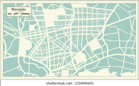 Namjeju South Korea City Map in Retro Style. Outline Map. Vector Illustration.