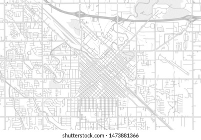 Nampa, Idaho, USA, bright outlined vector map with bigger and minor roads and steets created for infographic backgrounds.