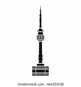 Namsan tower in Seoul icon in simple style isolated on white background