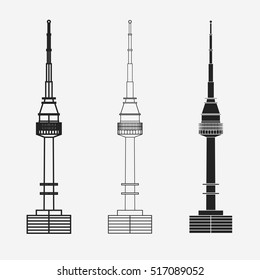Namsan tower in Seoul, South Korea high monument,. Vector icon