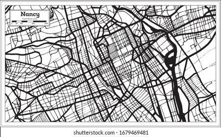 Nancy France City Map in Black and White Color in Retro Style. Outline Map. Vector Illustration.