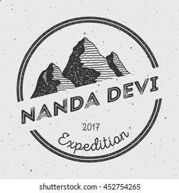 Nanda Devi in Himalayas, India outdoor adventure logo. Round expedition vector insignia. Climbing, trekking, hiking, mountaineering and other extreme activities logo template.
