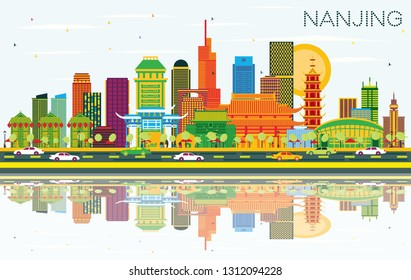 Nanjing China City Skyline with Color Buildings, Blue Sky and Reflections. Vector Illustration. Business Travel and Tourism Illustration with Modern Architecture. Nanjing Cityscape with Landmarks.