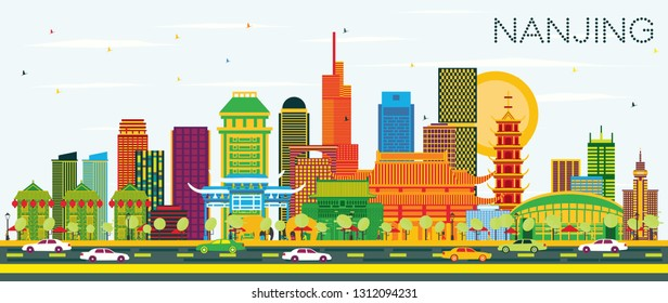 Nanjing China City Skyline with Color Buildings and Blue Sky. Vector Illustration. Business Travel and Tourism Illustration with Modern Architecture. Nanjing Cityscape with Landmarks.