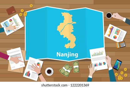 nanjing china province city region economy growth with team discuss on fold maps view from top vector illustration