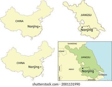 Nanjing city location on map of China and Jiangsu Province