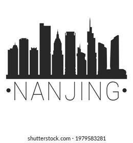 Nanjing, Jiangsu, China City Skyline. Silhouette Illustration Clip Art. Travel Design Vector Landmark Famous Monuments.