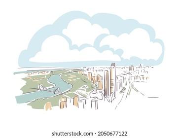 Nanjing JS Jiangsu province China vector sketch city illustration line art sketch