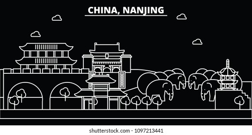 Nanjing silhouette skyline. China - Nanjing vector city, chinese linear architecture, buildings. Nanjing travel illustration, outline landmarks. China flat icons, chinese line banner