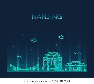 Nanjing skyline, Jiangsu, China. Trendy vector illustration, linear style