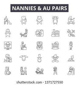 Nannies and au pairs line icons, signs set, vector. Nannies and au pairs outline concept, illustration: babysitter,nanny,child,care,baby,au pair,logo