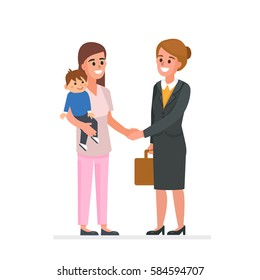Nanny with child shaking business mother hand. Vector illustration.