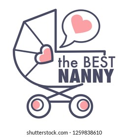 Nanny service isolated outline icon pram and heart in speech bubble baby carriage emblem sitting and bringing up children babysitter and childminder agency care and watching little kids vector.