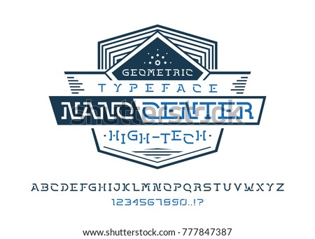 nano center font universal geometric typeface design modern display vector alphabet a complete