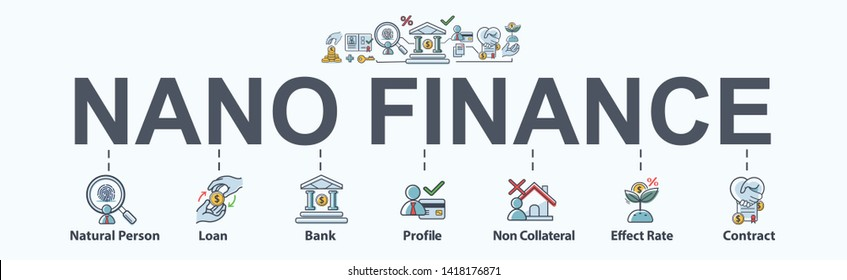 Nano Finance banner web icon for business and personal financial. Bank, loan, profile, effect rate and interest. Minimal vector infographic.