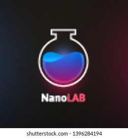 Nano lab logo template, colorful vector graphic design element for business, science company branding