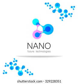 Nano logo - nanotechnology. Template design of logo. Vector presentation.