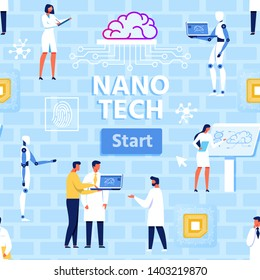 Nano Tech Laboratory at Work Flat Cartoon Seamless Pattern. Scientists, Humanoids, Brain with Connected Microchains, Micro Chip, Fingerprint. Vector Text Illustration over Brick Wall Backdrop