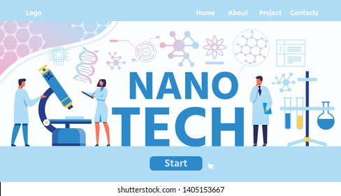 Nano Tech Lettering Landing Page with Start Button. Vector Flat Male and Female Scientists Discuss Discovery Made by Microscope. Laboratory Chief Attentively Listen Illustration on Biochemicals Space